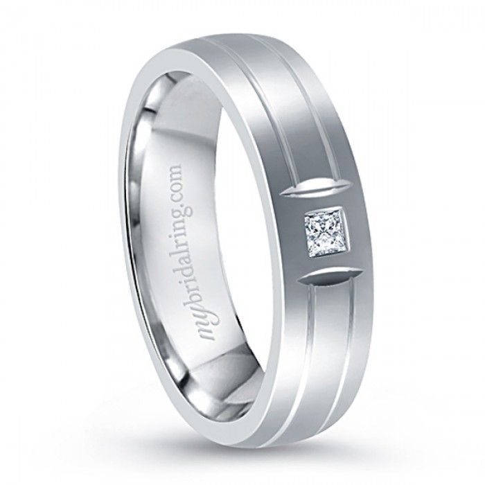 Comfort Fit Wedding Band For Mens 14K White Gold With Diamond Dual