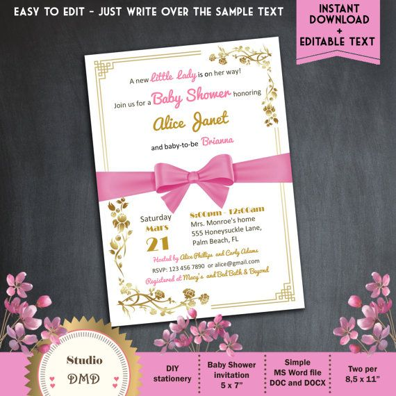 Ribbons and Bows Baby Shower Invitation, Girl Baby Shower Invite - how to make a baby shower invitation on microsoft word