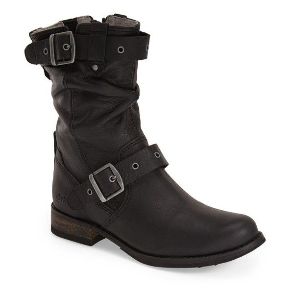 """Cat Footwear 'Midi' Moto Boot , 1"""" heel ($136) ❤ liked on Polyvore featuring shoes, boots, ankle booties, ankle boots, black leather, leather boots, black leather bootie, black bootie, leather motorcycle boots and leather booties"""