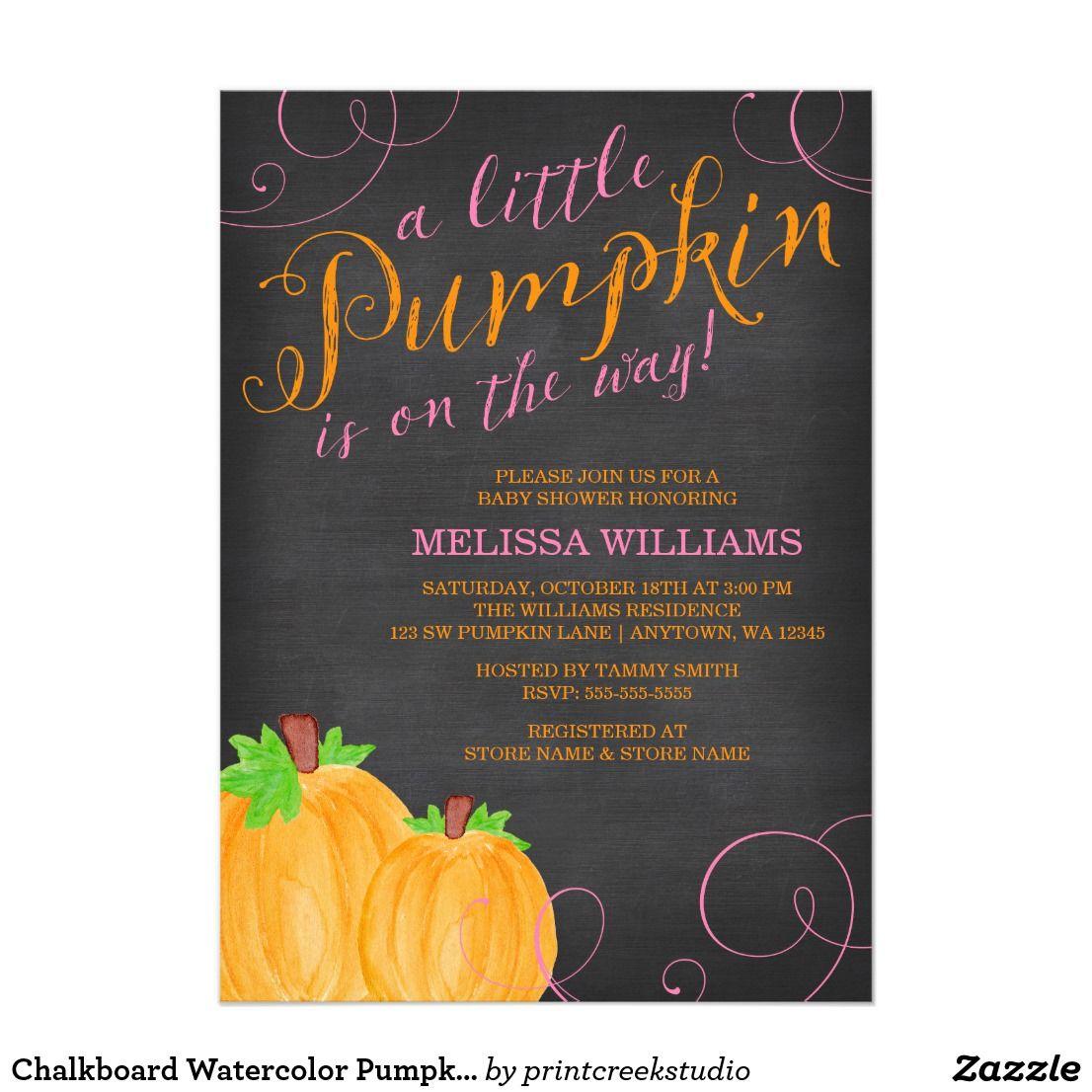 Chalkboard Watercolor Pumpkin Girl Baby Shower Card