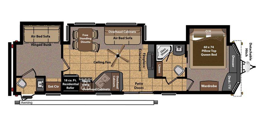 Keystone Rv 406fb Floorplan 2 Bed 1 1 2 Bath Keystone Rv Trailer Living Rv