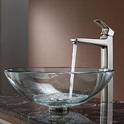 Kraus Bathroom Combo Set Clear Glass Vessel Sink/Faucet Brushed Nickel