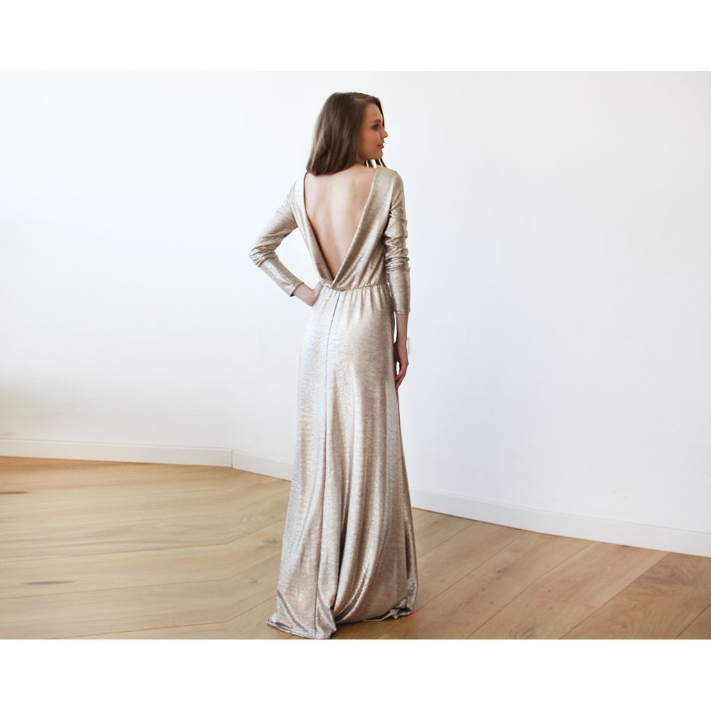 Light gold backless maxi dress with long sleeves backless