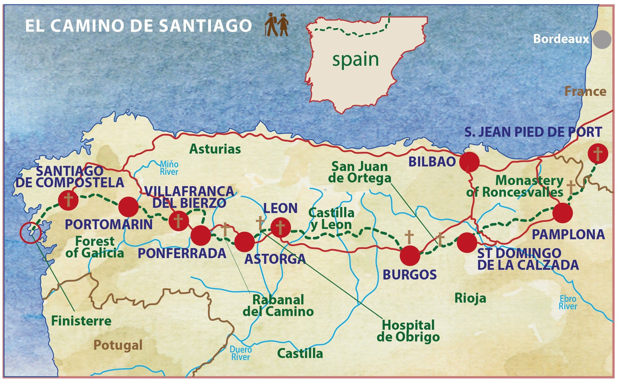 Camino Walk Spain Map.Camino De Santiago Map French Way Itineary Caspin Journeys Walking