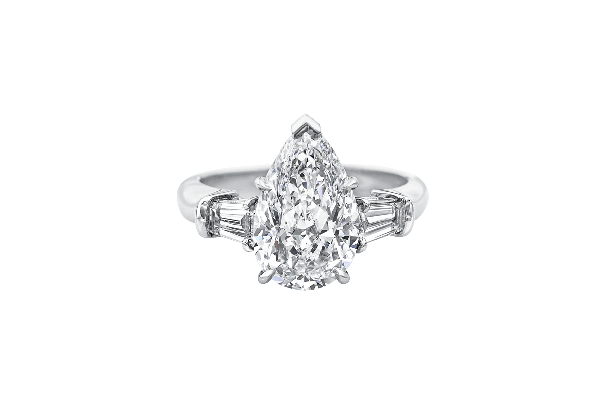 Classic Winston Pear Shaped Engagement Ring With Tapered