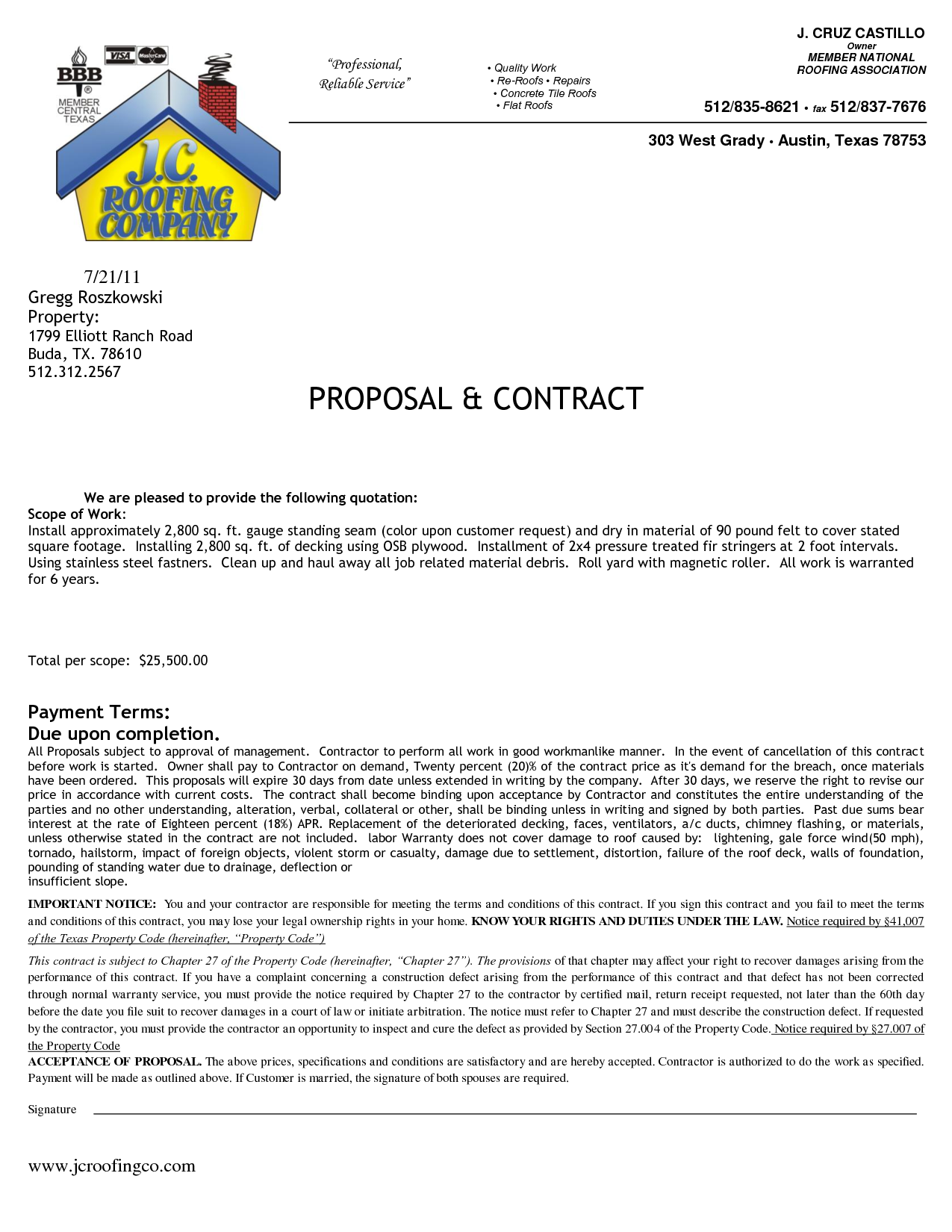 Residential Roofing Contract Contract Date Project Manager By