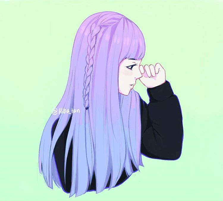 More Vibrant Colors This Time I M Loving This Simple Type Of Coloring It S So Easy And I M Lazy Af Art Artist Purple Art Anime Purple Hair Anime Art Girl