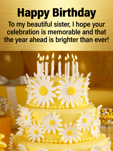 A Beautiful Yellow Cake With Cheerful Daisies And White Candles