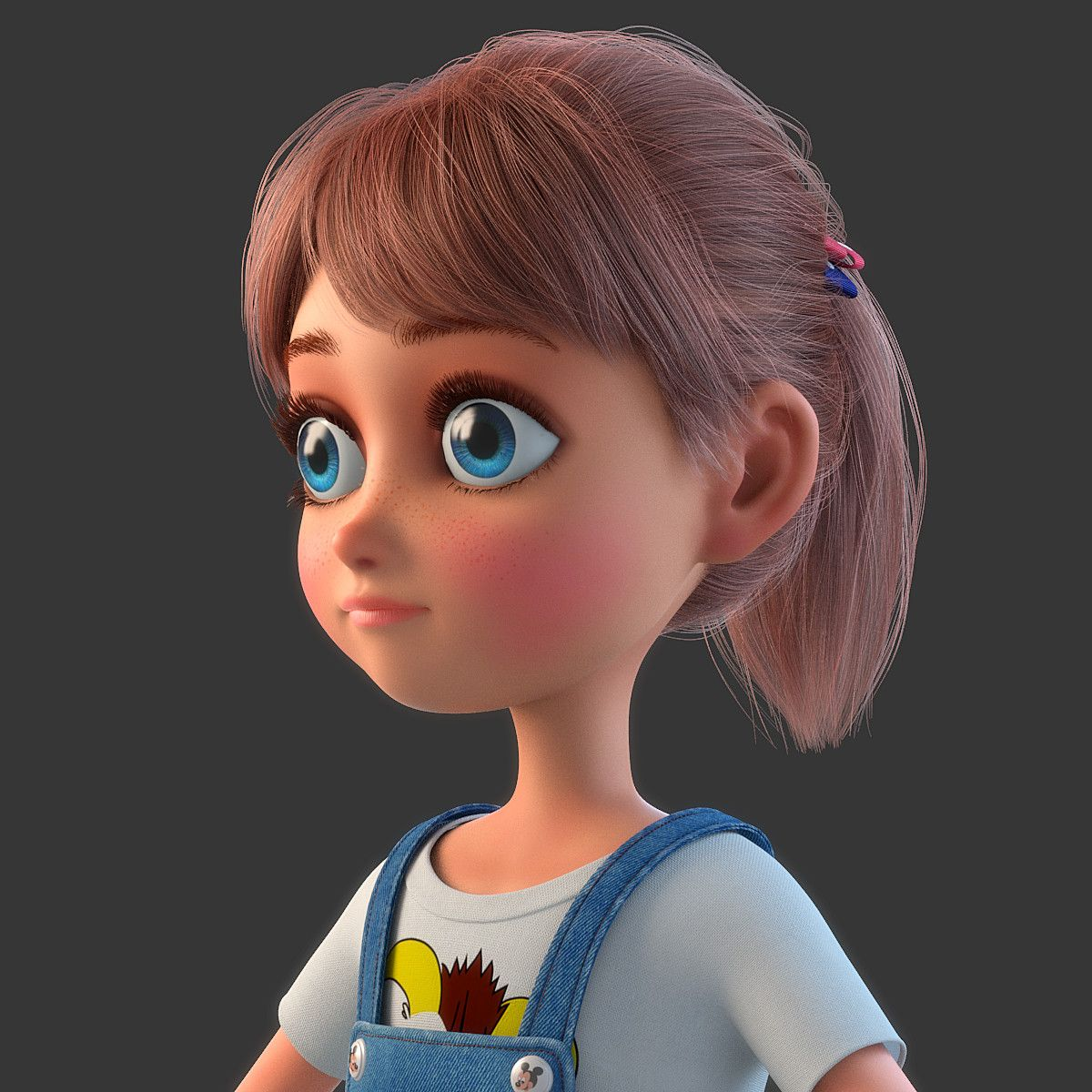 3d Model Of Cartoon Girl Rigged Girl Cartoon Cartoon 3d Model