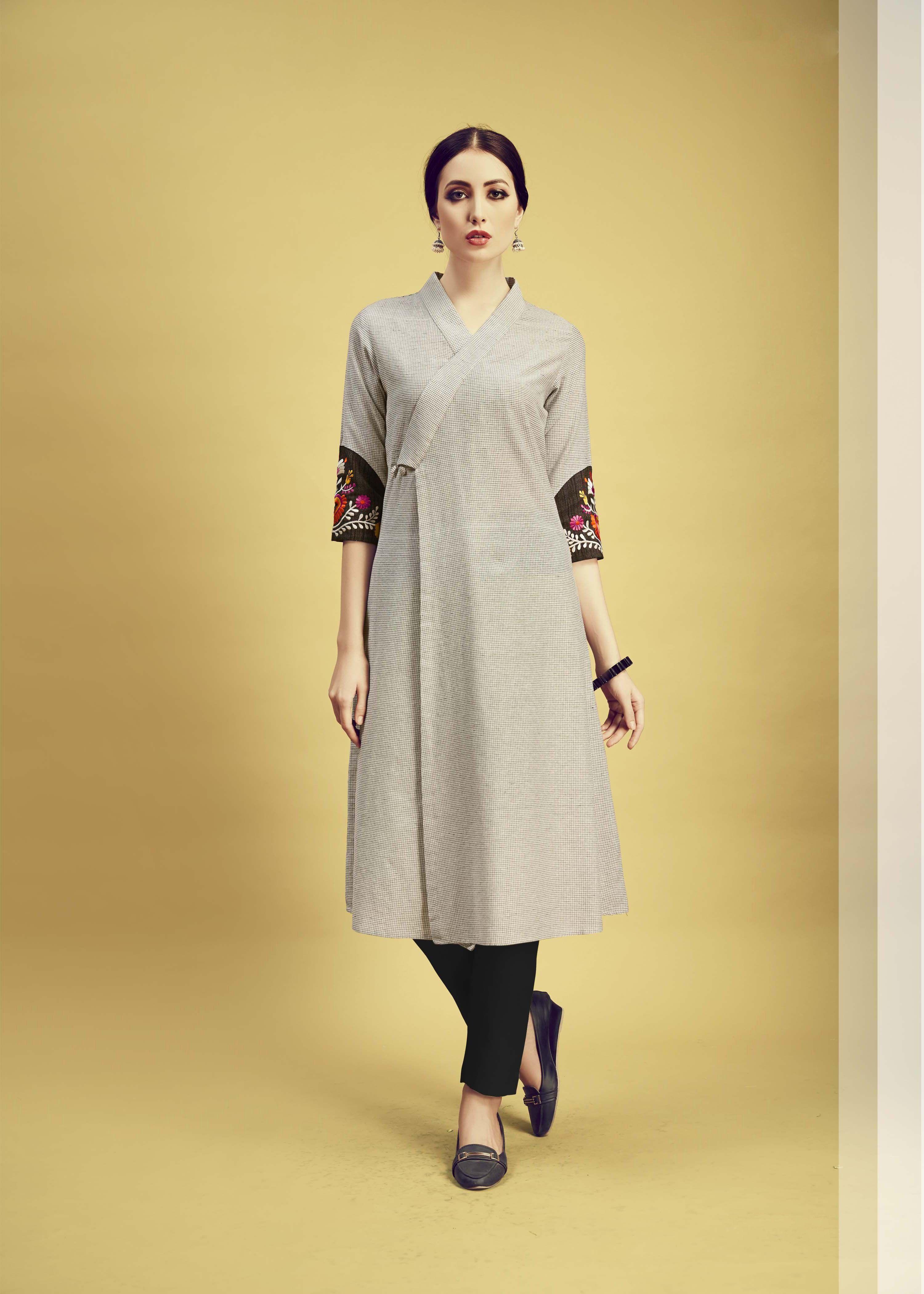 8839a26673199 Buy Light Grey Color Cotton Stitched Kurti   Zinnga   Kurtis/Kurtas ...