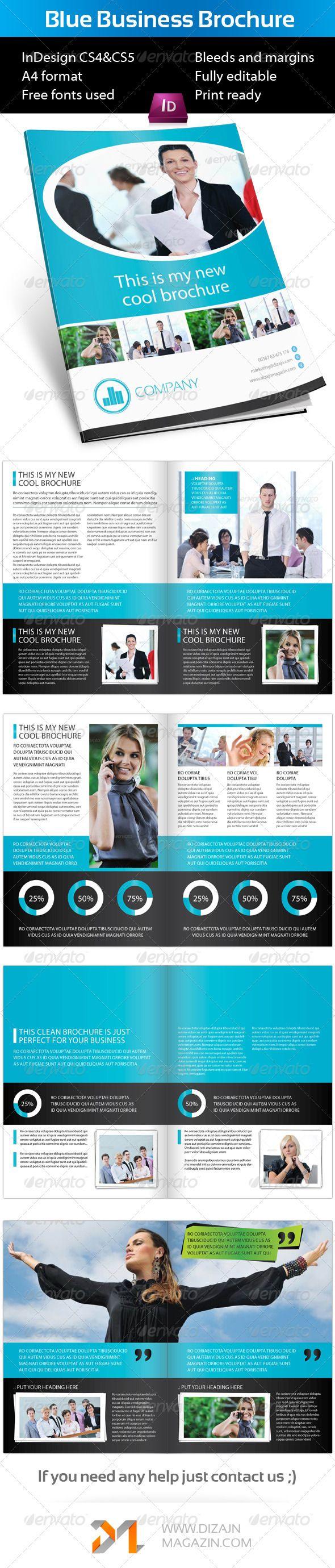 Blue Business Brochure A4 InDesign Template | Diseño editorial ...