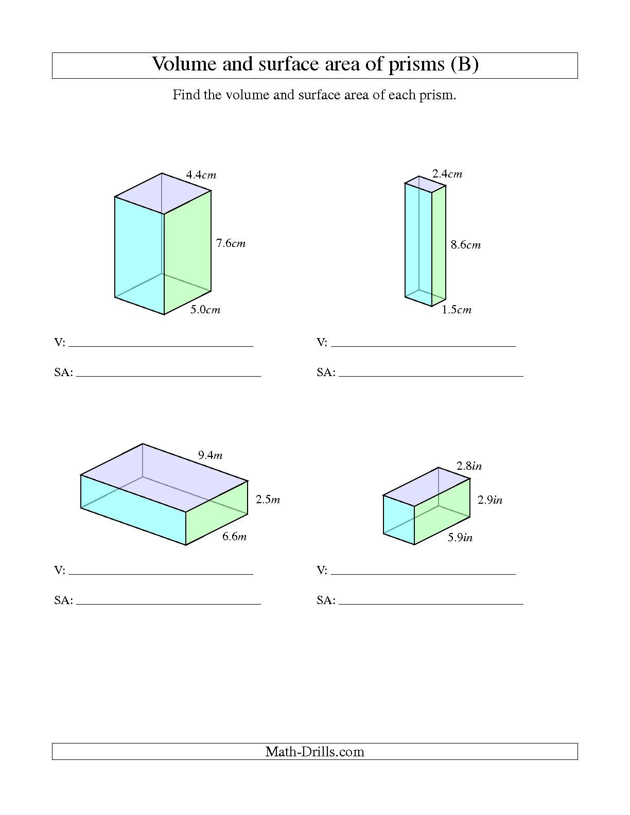 worksheet Volume And Surface Area Worksheets Grade 10 the volume and surface area of rectangular prisms with decimal numbers b measurement worksheet