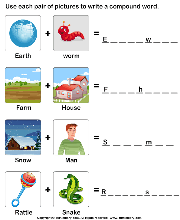 Make A Compound Word Compound Words Worksheets, Kindergarten Worksheets, Compound  Words