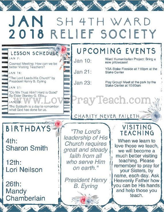 relief society newsletter template January 2018 Relief Society Editable Monthly Lesson Calendar and ...