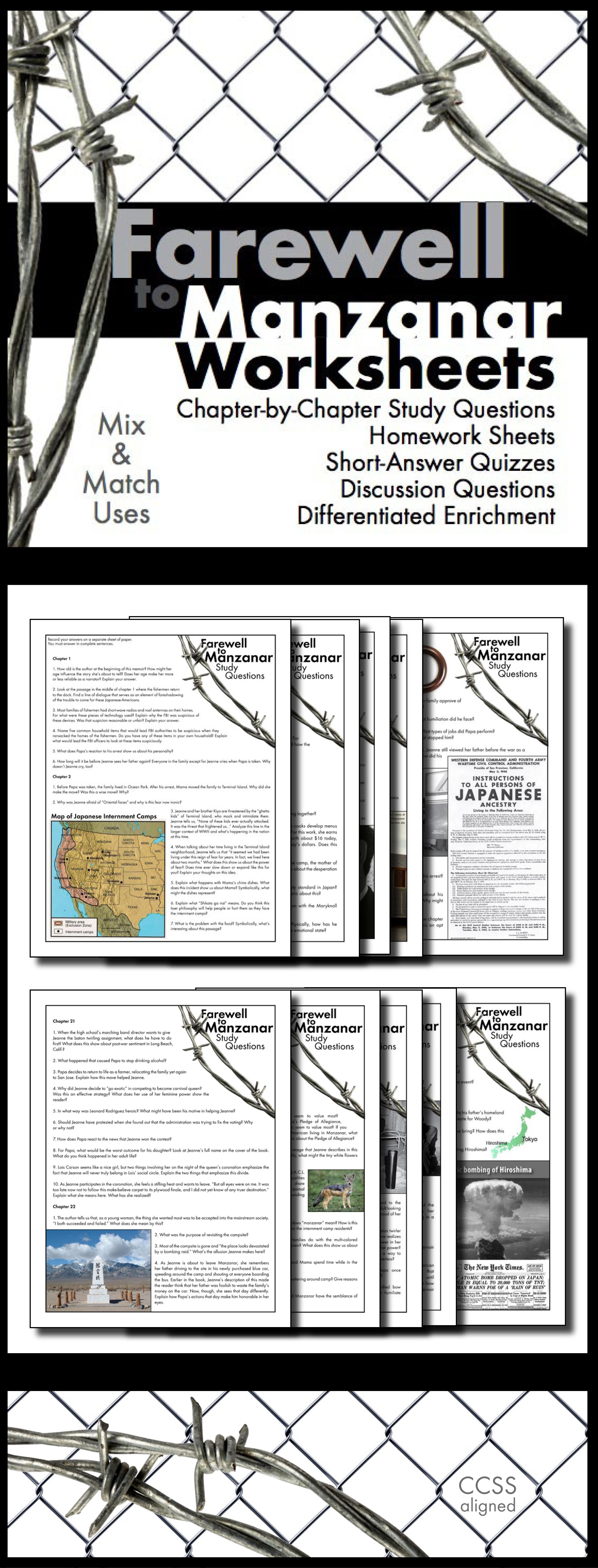 Farewell To Manzanar Japanese Internment Worksheets Hw Discussion For Memoir
