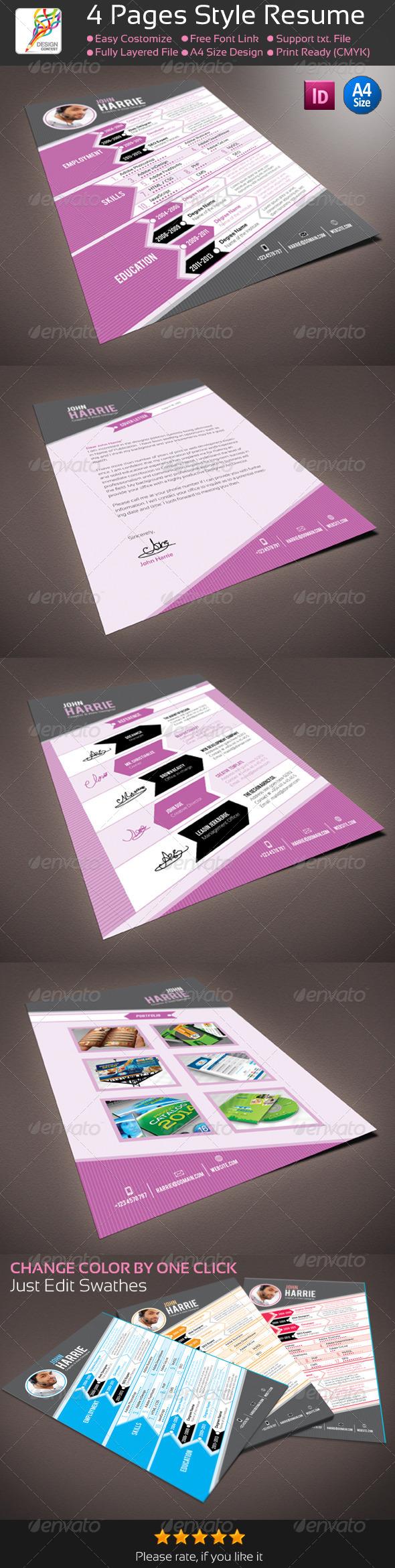 4 pages indesign style resume cv best resume cv indesign 4 pages indesign style resume cv reheart Choice Image