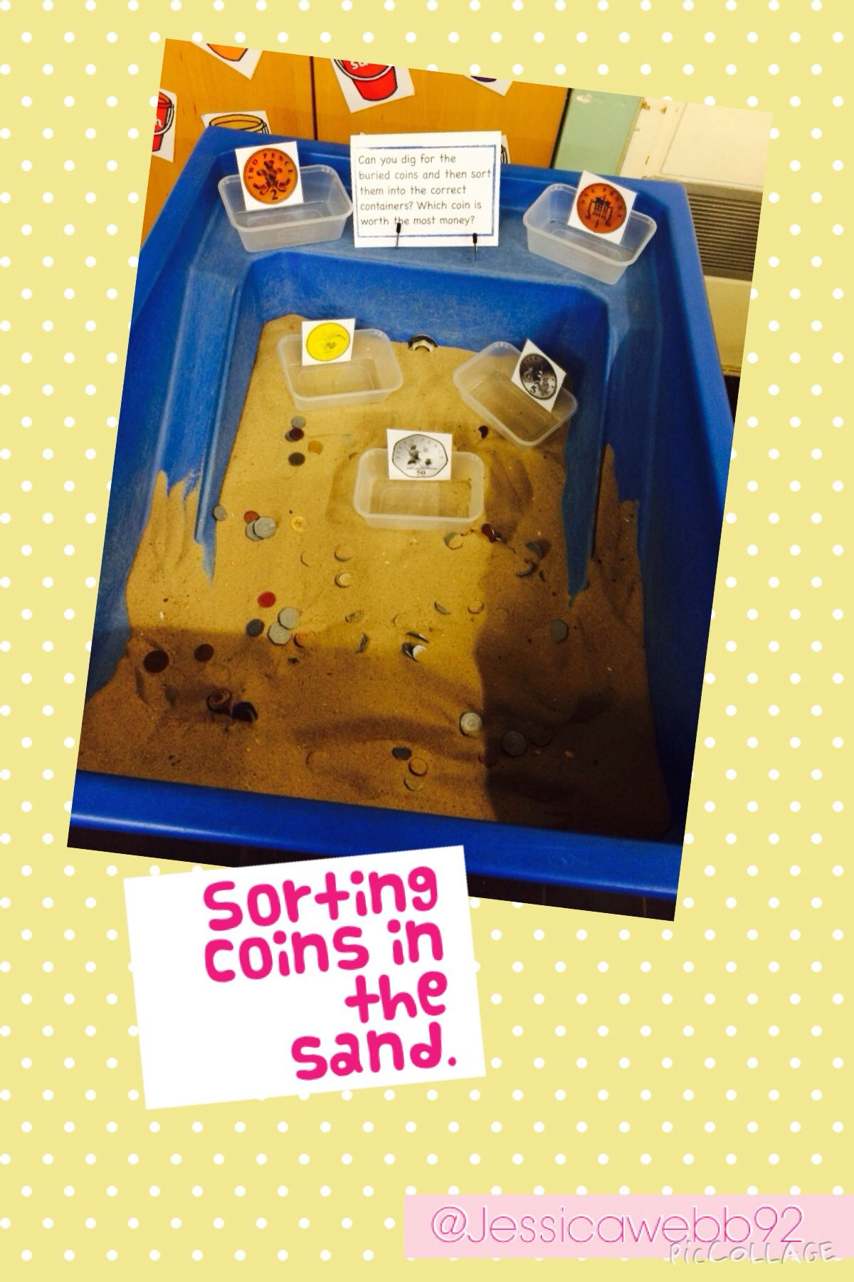 sort the coins in the sand eyfs continuous provision ideas teaching money money activities. Black Bedroom Furniture Sets. Home Design Ideas