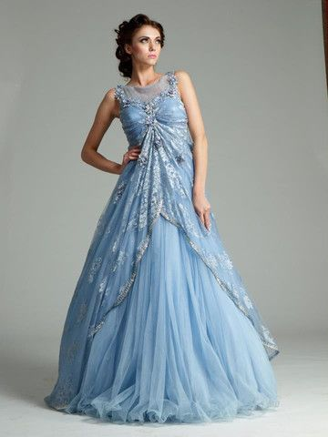 22e141dfe3c This Indo Westen gown is in net fabric having silver color embroidery on  yoke. Upper layer of this Indo Western gown is have sky blue embroidery  which give ...