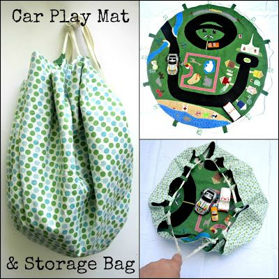 Portable play mat for kids with loops to cinch up into a bag. Appliqued with little scraps of fabric in the shape of roads, a zoo, ect. I'd make one for somebody's kiddies.