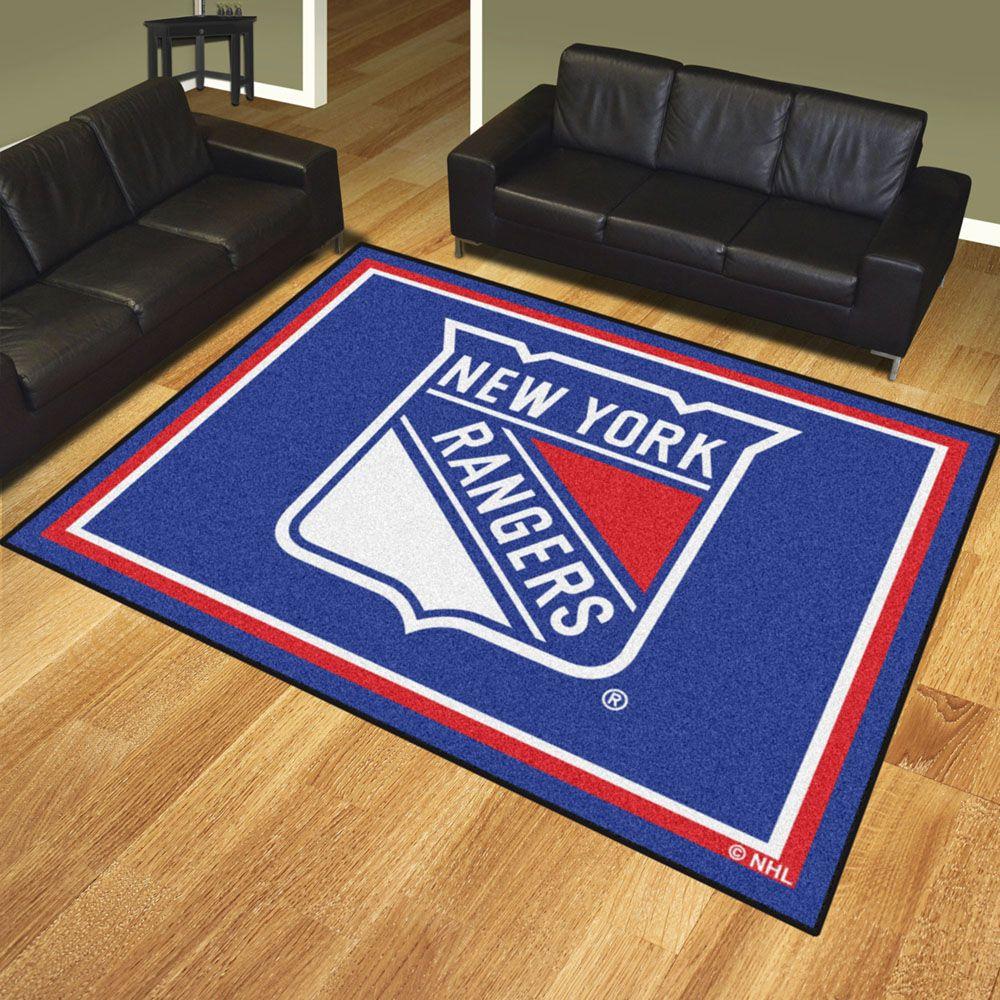 New York Rangers 8 X 10 Ultra Plush Carpet Area Rug Floor Mat