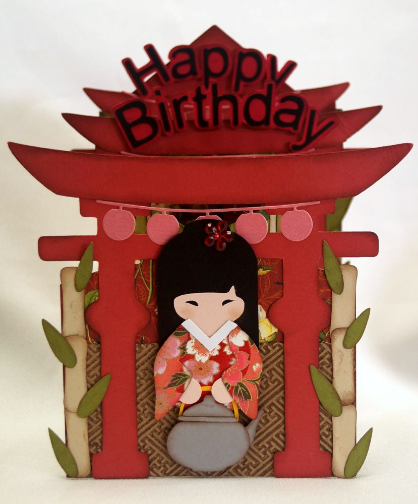 Handmade birthday card asian theme cascade style