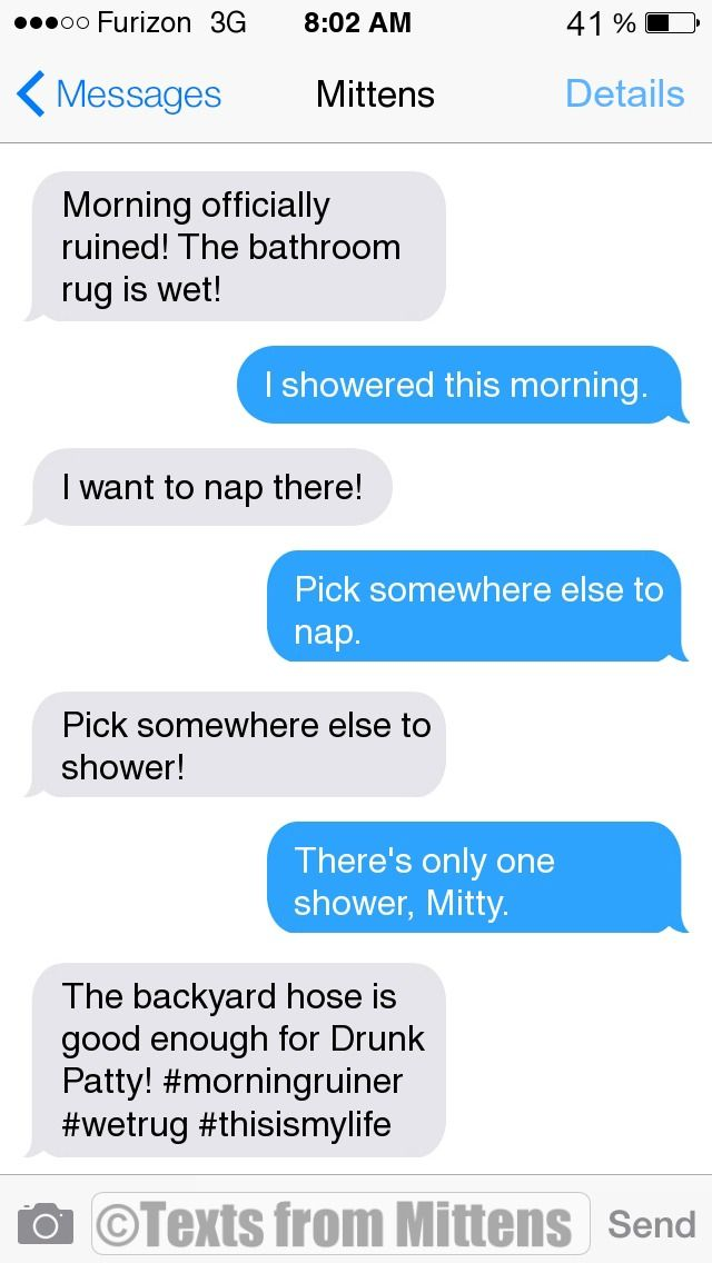 Texts from Mittens - NEW Daily Mittens: The Bathroom Rug Edition More...