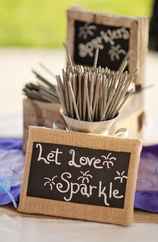 Sparklers Country wedding decorations Rustic wedding