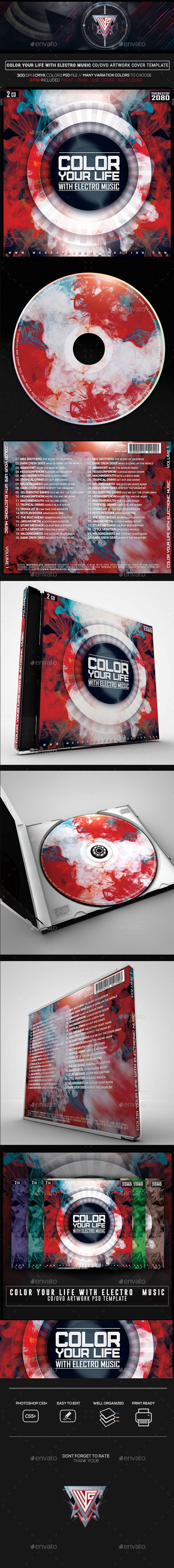Color your Life with Electro Music CD/DVD Template   CD & DVD Cover ...