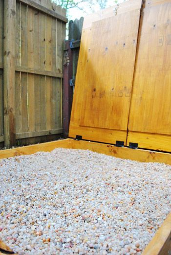 """Pea gravel instead of sand in a """"sand"""" box. Love it. No ..."""