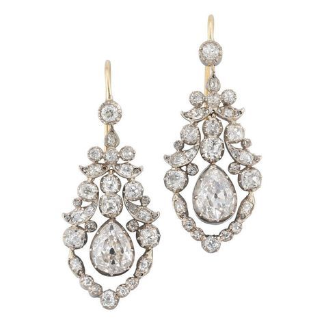 Fine Pair of Late Georgian Diamond Earrings Circa 1830   From a unique collection of vintage chandelier earrings at https://www.1stdibs.com/jewelry/earrings/chandelier-earrings/