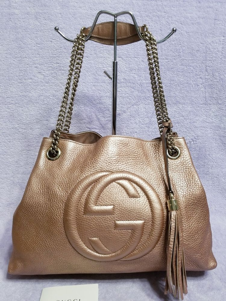 469b2fe0e909 Gucci Soho Rose Gold Leather Chain Tote Shoulder Bag Rare Exclusive For  Japan  fashion