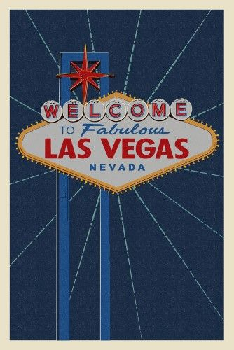 Welcome To Las Vegas Sign Letterpress Lantern Press Artwork