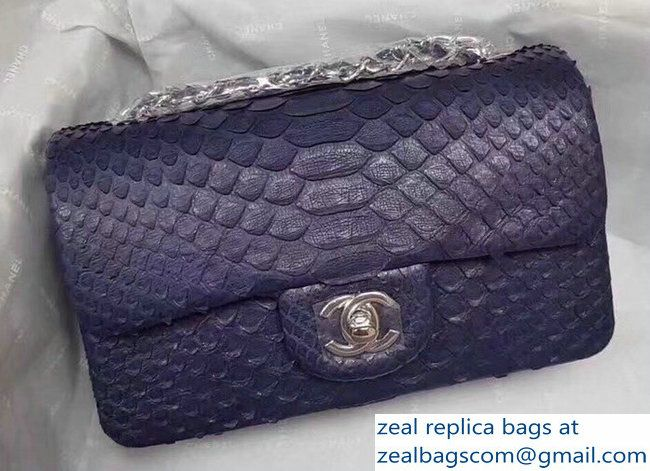 b7e019e5d595 Chanel Python Classic Flap Small Bag A1116 royal blue 2018