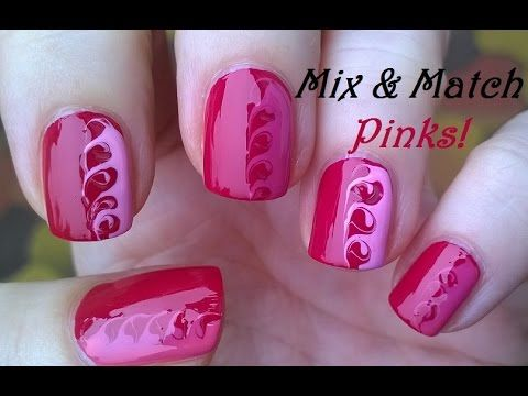 Mix Match Pink Nails Toothpick Nail Art Tutorial 10 Youtube