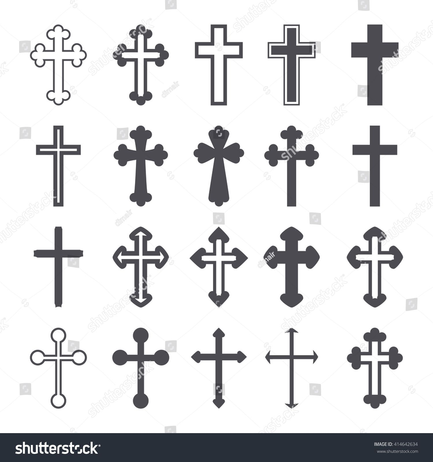 Cross icons set. Decorated crosses signs or symbols. Vector illustration |  Tatuaje de cruz con alas, Conjunto de iconos, Patrones de cruz