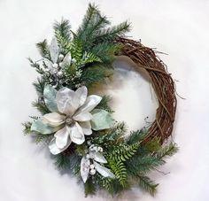 Christmas Wreath- Winters Mist, Front Door Wreath, Holiday Wreath, Grapevine Wreath, Winter Wreath, Wreath for Door, Holiday Door Decoration on Etsy, $47.00