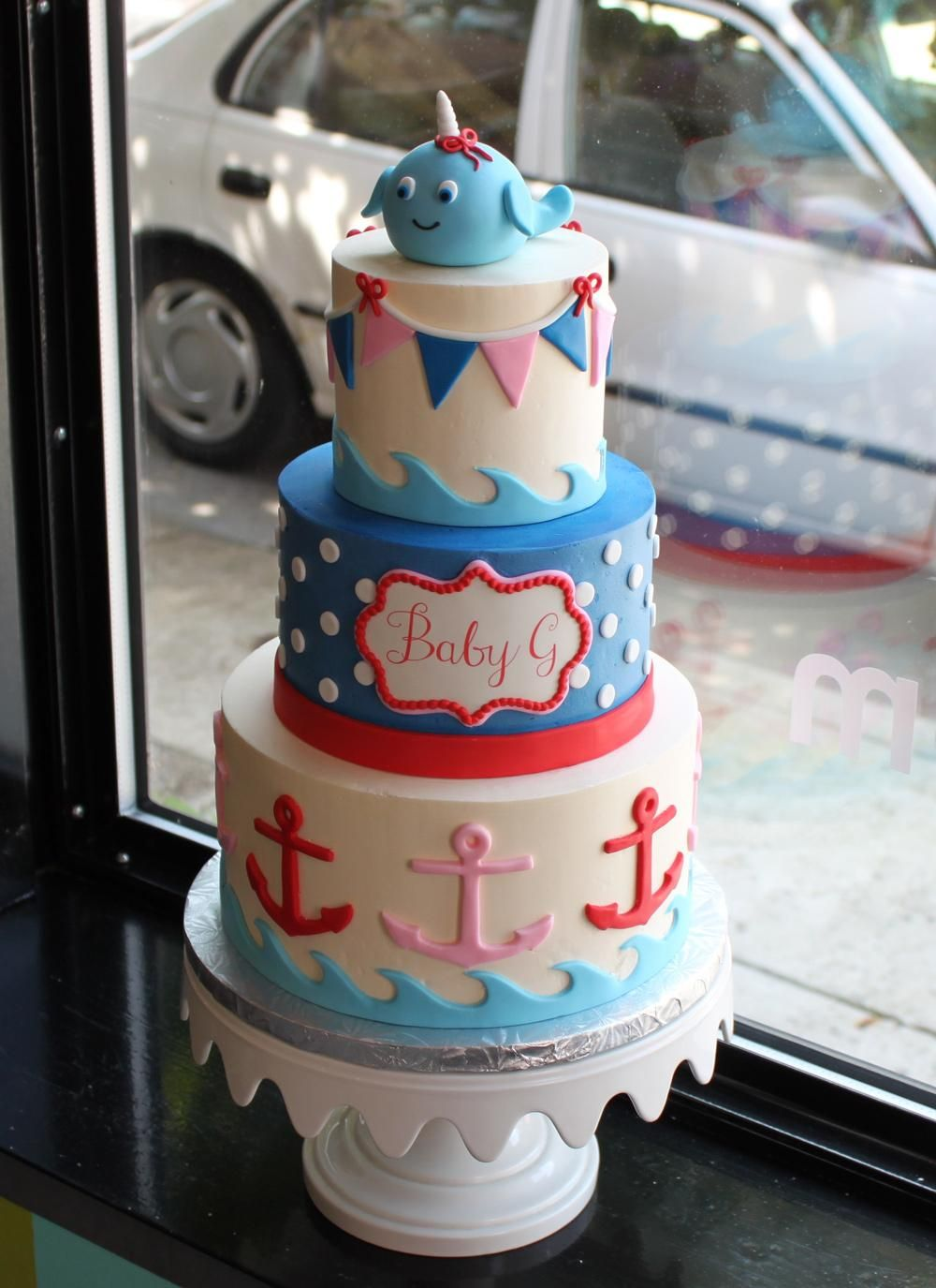 Nautical Narwhal Baby Shower Cake | Whipped Bakeshop