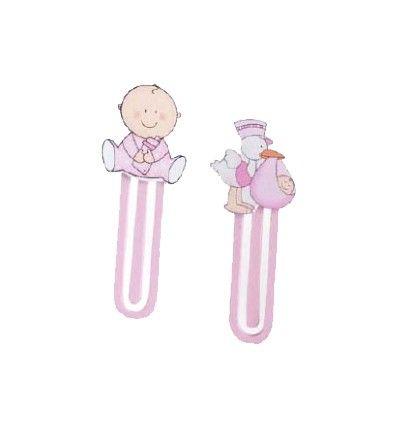 Detalles para bautizo. Marca páginas o punto de libro en madera motivos bebé rosa. Se sirven los dos modelos surtidos. Precio para la unidad. Medidas: 9 cm