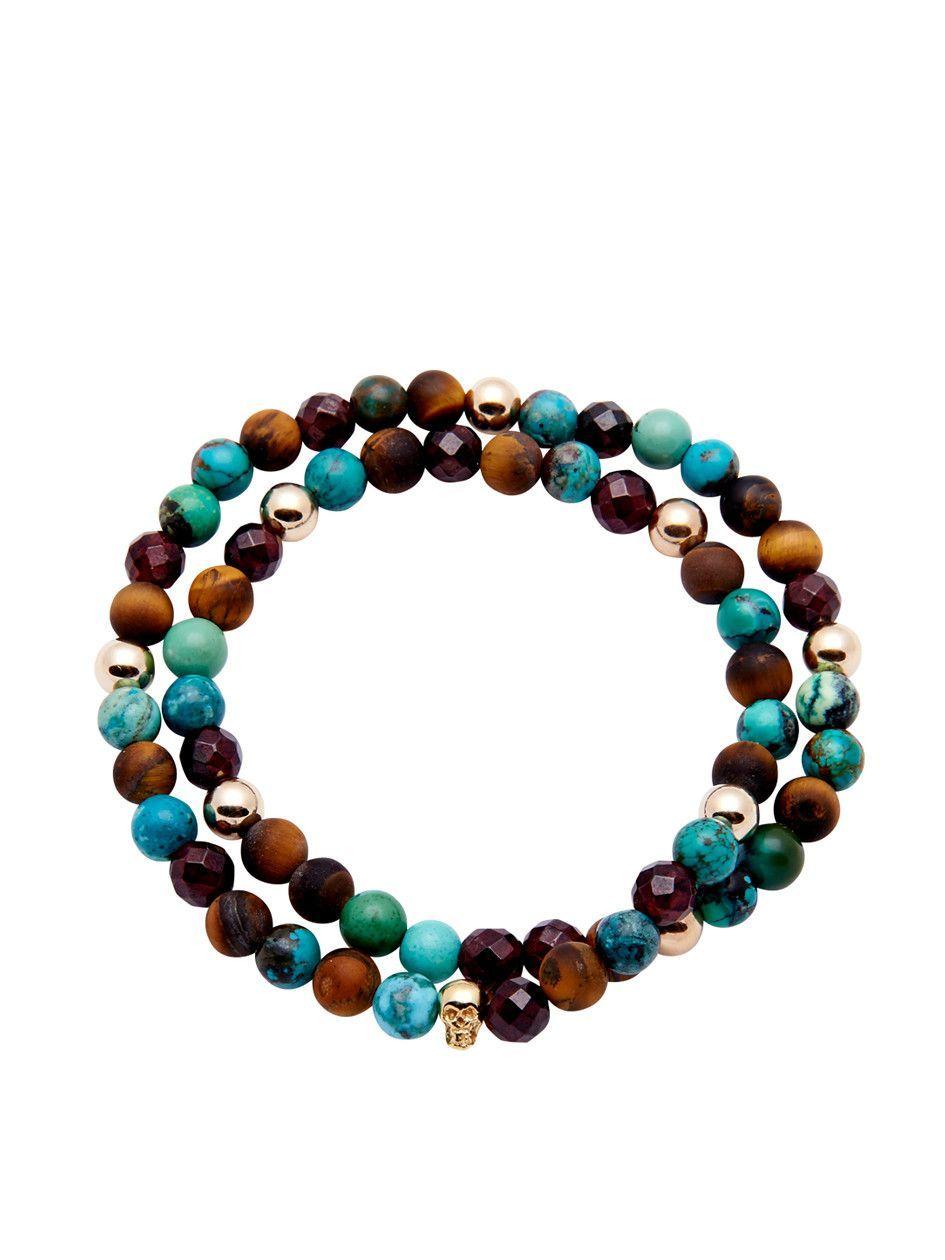 Men's 14K Gold Collection, Skull Bead, Matte Tiger Eye, Bali Turquoise | Nialaya Jewelry