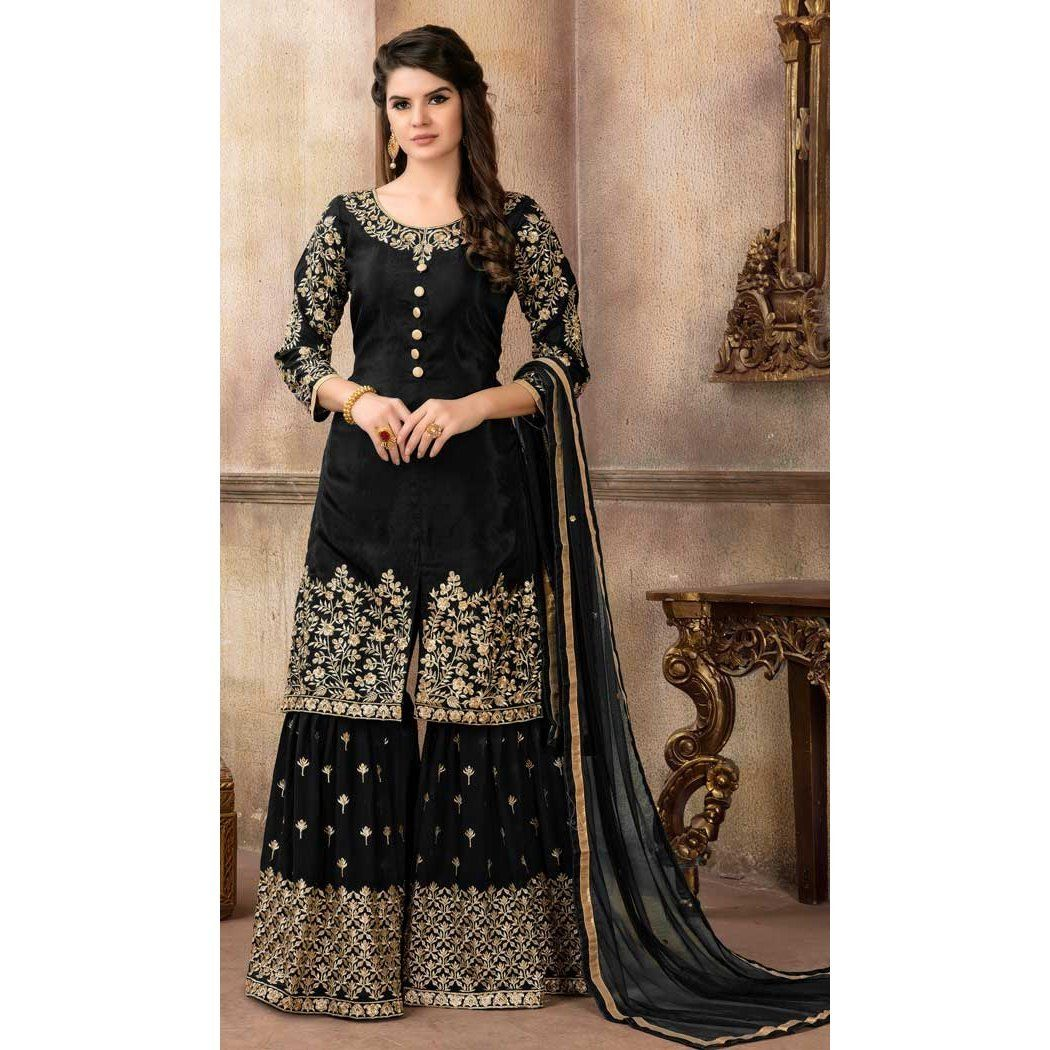 83f8f3738a Black Color Art Silk Pakistani Designer Sharara Suit - 58547802  #indowestern #salwarkameez #dresses