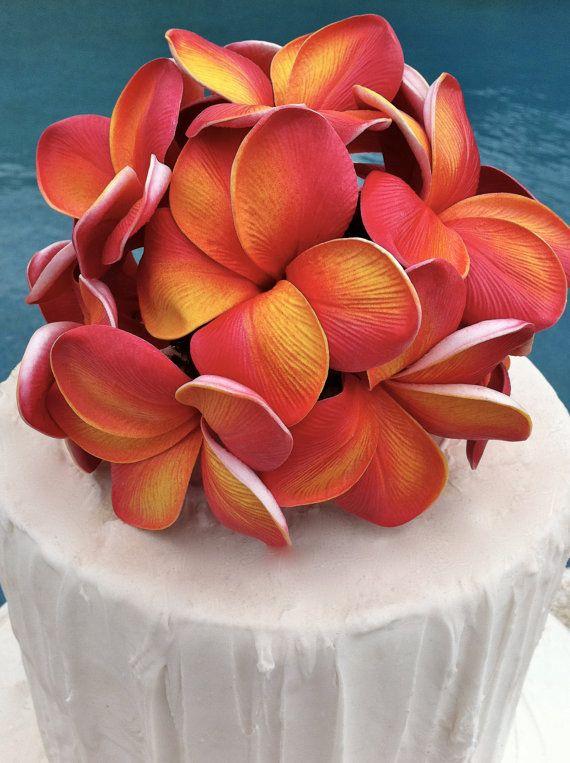 Plumeria Cake Topper by flowersbythevase on Etsy, $35.00