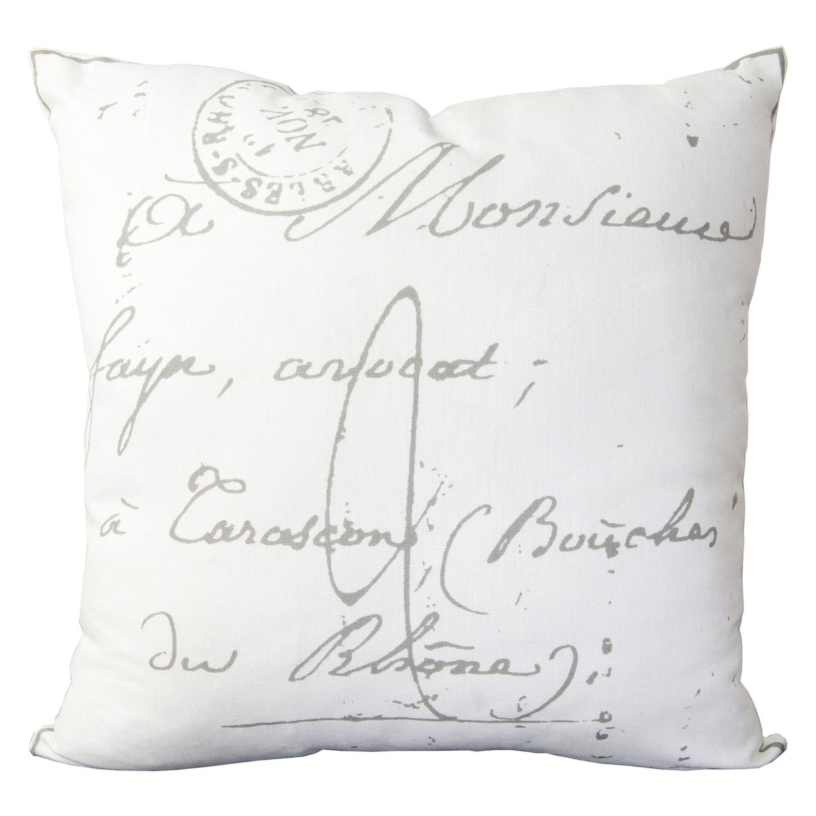 Surya Classical French Script Decorative Pillow White Down Fill
