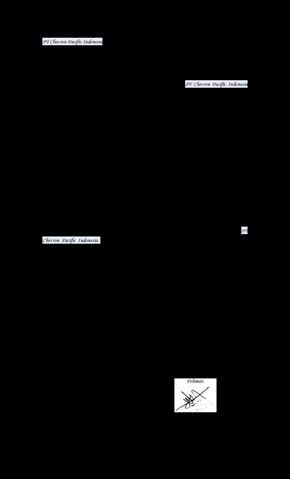 contoh surat lamaran kerja ke pt chevron