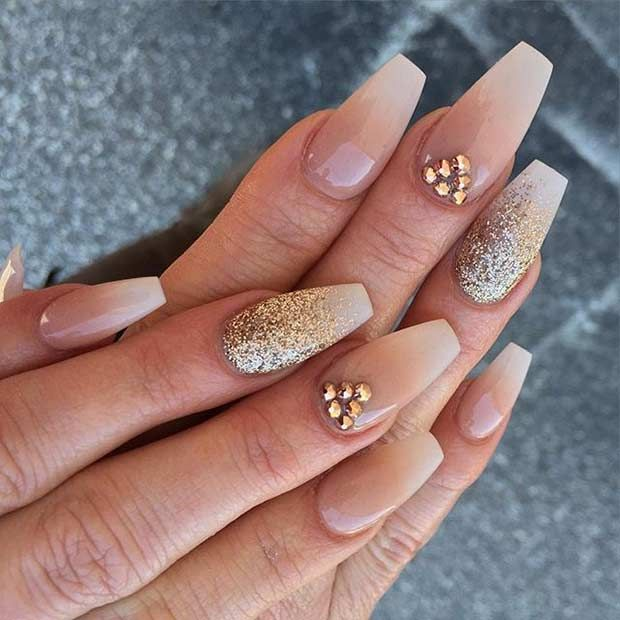 Neutral Coffin Nail Design with Gold Glitter