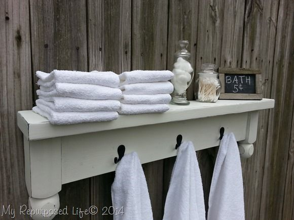 DIY Towel Rack With A Shelf Bathroom Hooks Hook Rack And Oil Rubbed Bronze.  DIY