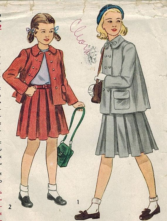 1940s Simplicity 2332 Vintage Sewing Pattern Girl\'s Pleated Skirt ...