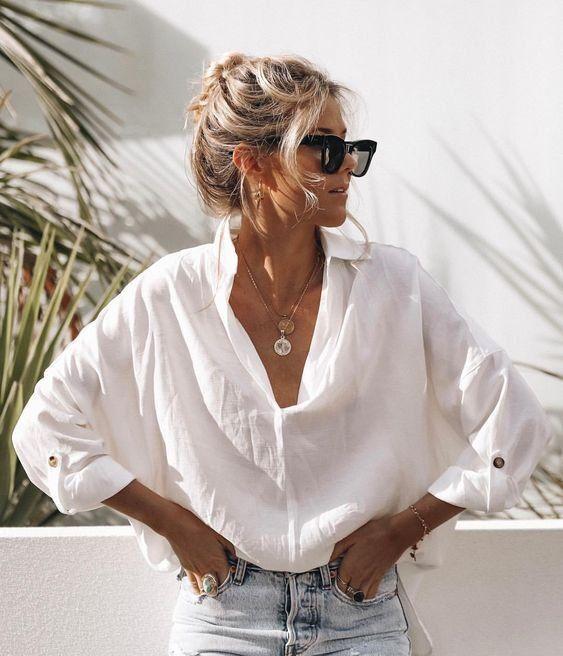 Kaufen Sie weiße Blusen online Fashionchick.nl – #blusen #fashionchick #kaufen … – Spring Outfit