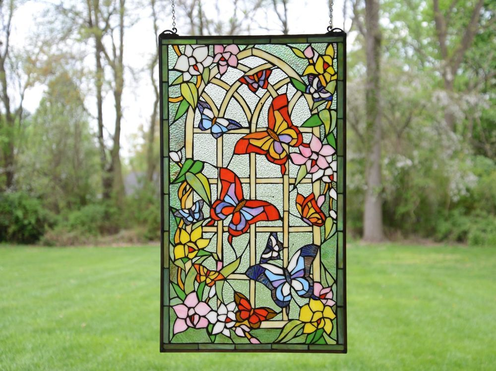 20 X 34 Large Tiffany Style Stained Gl Window Panel Erfly