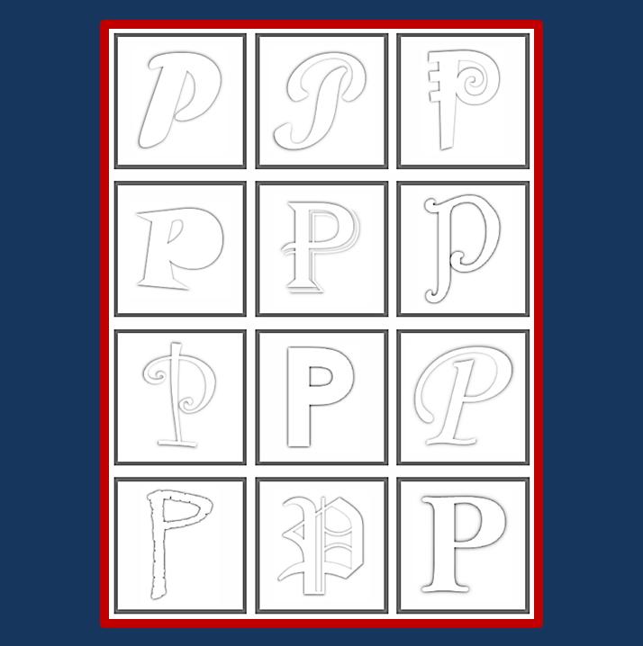 12 verschiedene Schriften für Alphabet-Spiele - zum Ausmalen