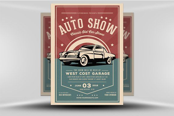 Old Classic Car Show Flyer Template by FlyerHeroes Layer3 Templates #flyertempla…